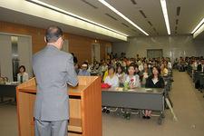 会場いっぱいの約150人が聴講